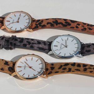 Ernest horloge leopard medium silver grijs