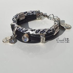 Armband Love Much zwart wit panter
