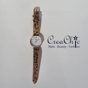 Ernest horloge rosé medium leopard camel