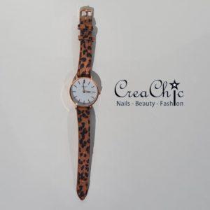 Ernest horloge leopard medium rosé bruin