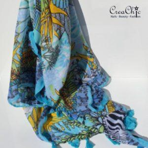 Sjaal jungle blauw groen