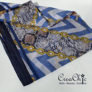 Sjaal ketting blauw geel