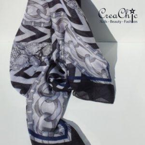 Sjaal ketting zwart wit blauw